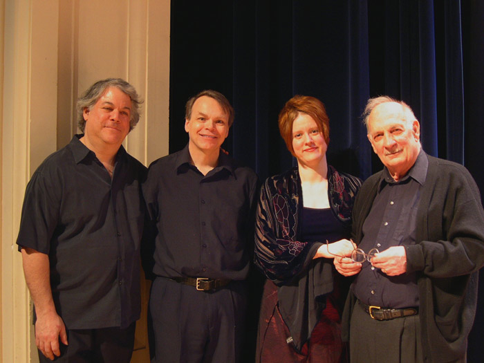 The George Crumb Ensemble in 2005: David Starobin, Robert Shannon, TA, George Crumb.  photo: Becky Starobin