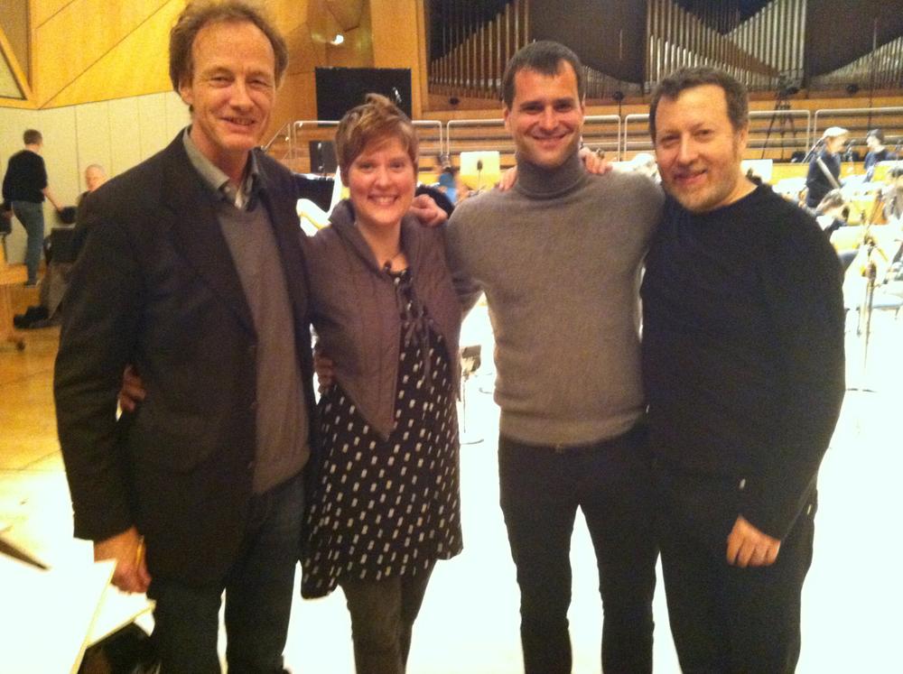 Composer Beat Furrer, TA, baritone Holger Falk, & conductor Brad Lubman.  La Bianca Notte premiere with Ensemble Modern, November 2013