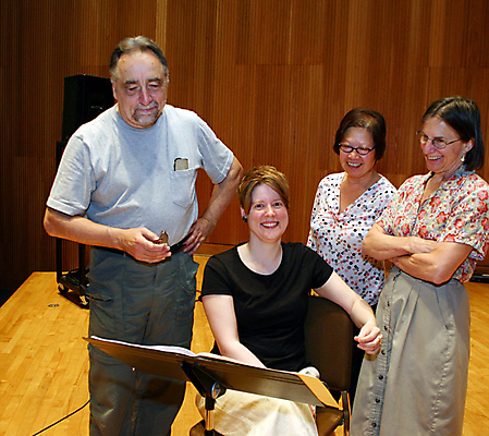 Composer Harvey Sollberger, TA, Linda  Kwan and Jayn Rosenfeld of NYNME at June in Buffalo