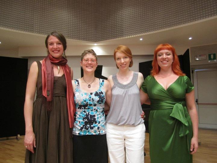 The Valkyries of soundSCAPE 2012: Stephanie Beattie, TA, Rebekah Alexander, and Liz Pearse.
