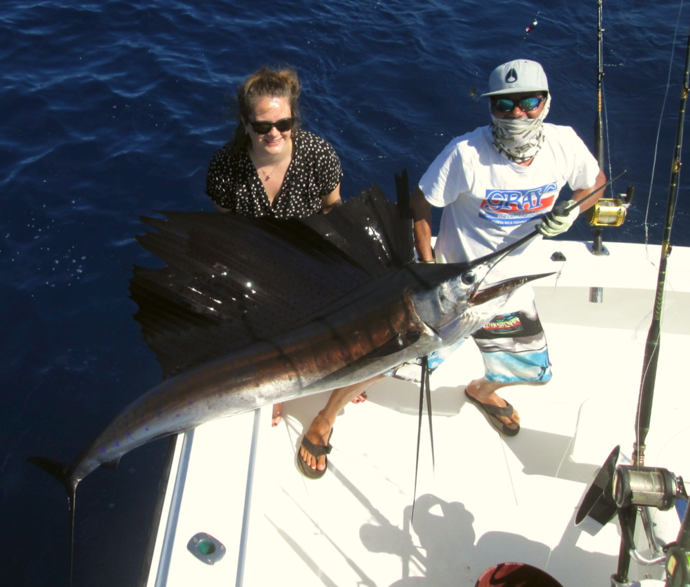 "Randy Turner got on the boat this morning and asked Kelvin for a Marlin, well we are Bucket List fulfillers!  2nd bite 350 lb. Blue Marlin Released on the MoonWalker followed by 4 Sailfish releases!  ""Best Fishing Day of their lives""  Fished all over the world and now here in Quepos that Bucket list filled on the MoonWalker"