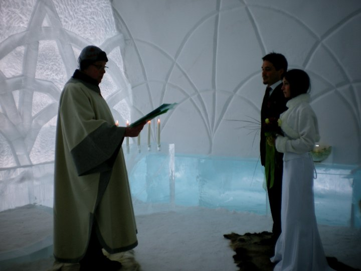 Our wedding ceremony at the ice church in Lapland, Sweden
