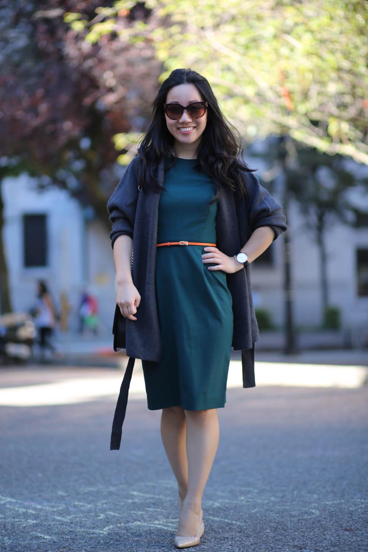 Workwear-Jcrew-green-dress-MM-Lafleur-sweater-belt