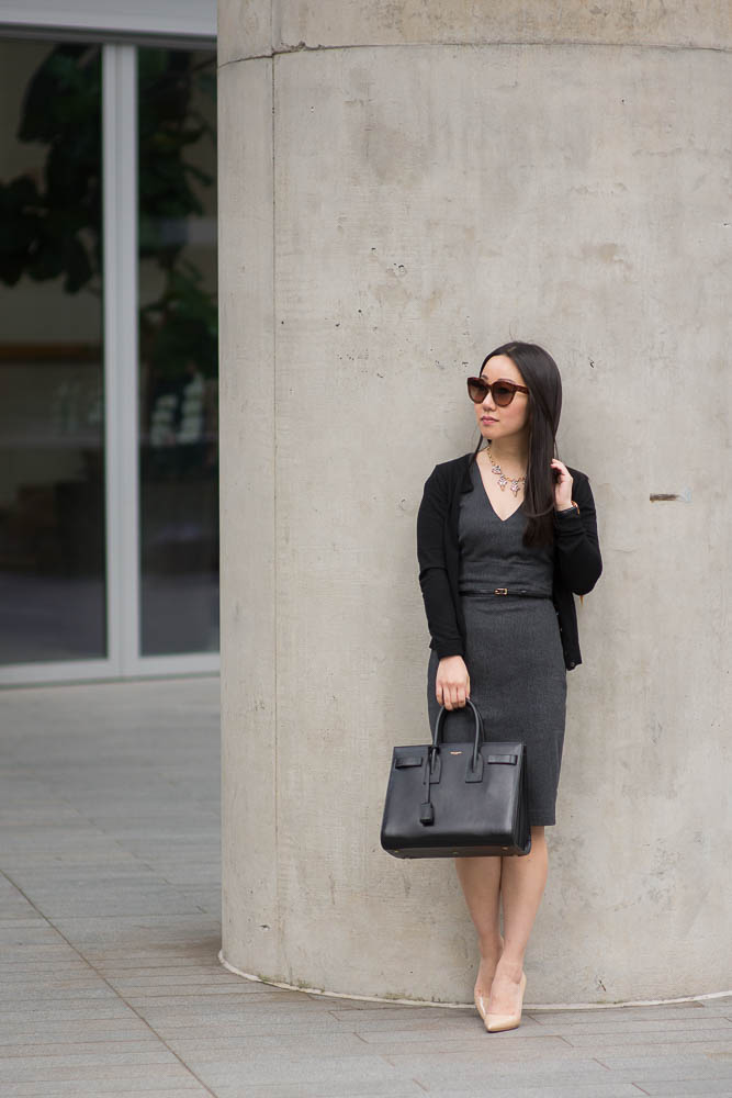 yves st laurent handbag - Corporate Monday :: Belted Sheath Dress with Saint Laurent Tote ...