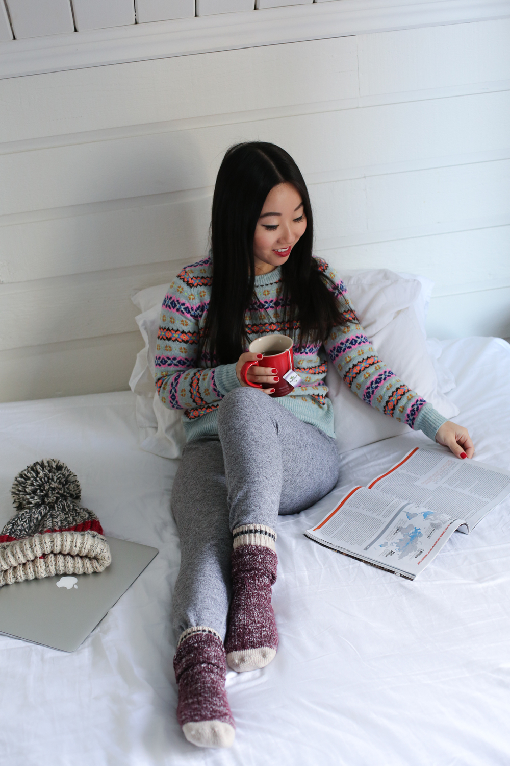 Cozy Winter Lounge outfit - Roots sweatpants & J. Crew fair isle