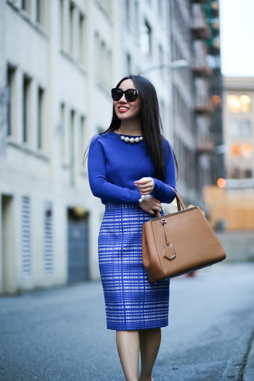 cobalt blue outfit Fendi 2jours purse