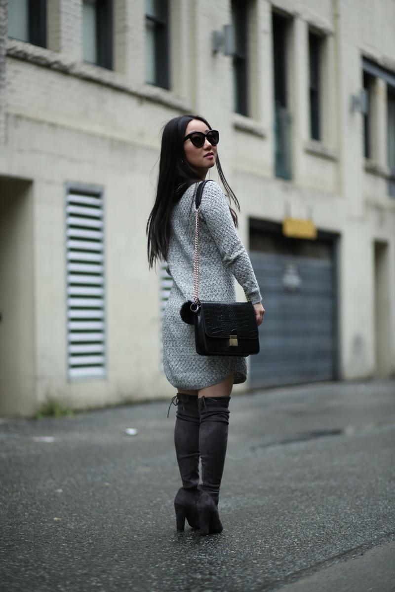 OTK boots sweater dress fashion blog outfit