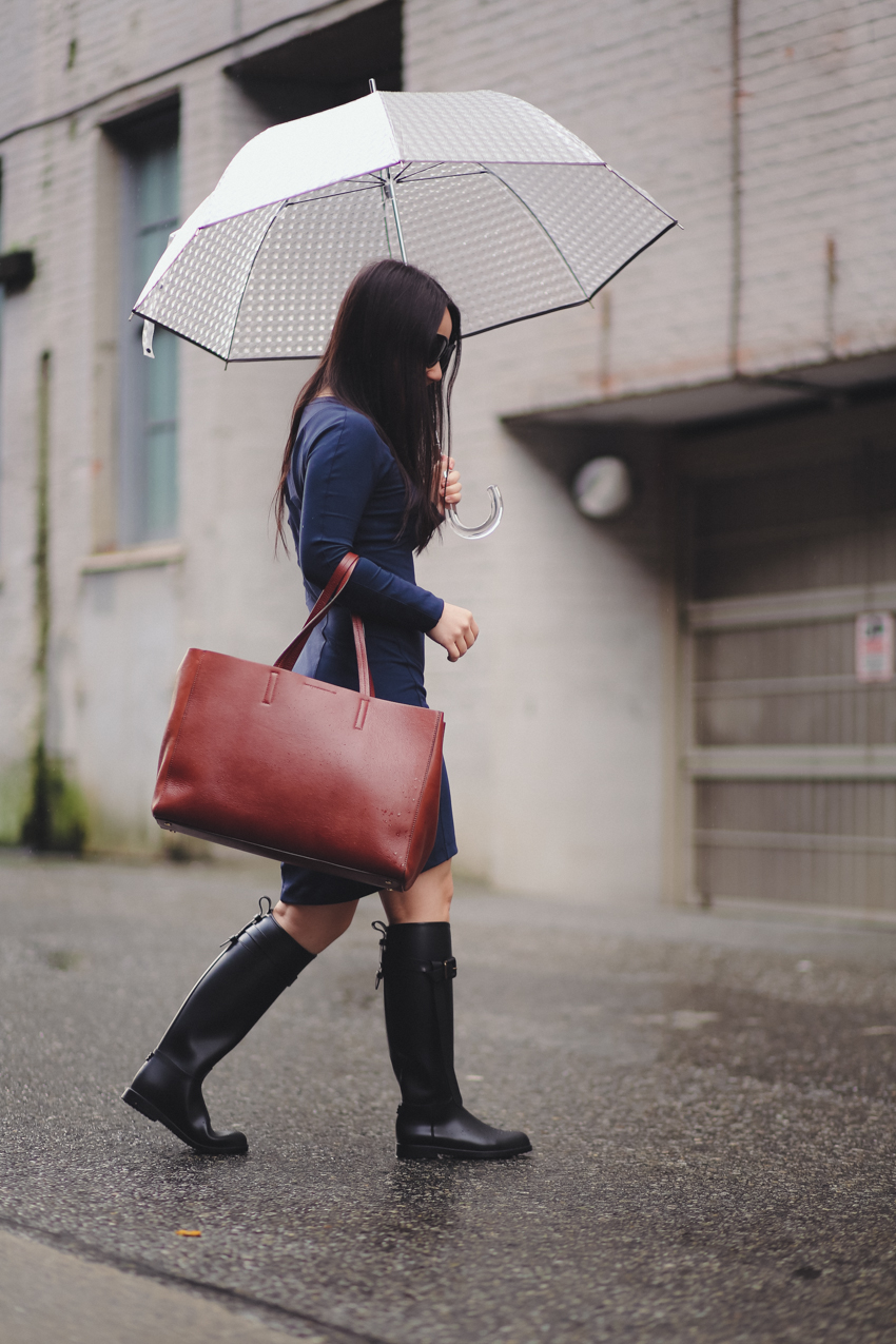 rainy day outfit Burberry rainboots Lululemon dress