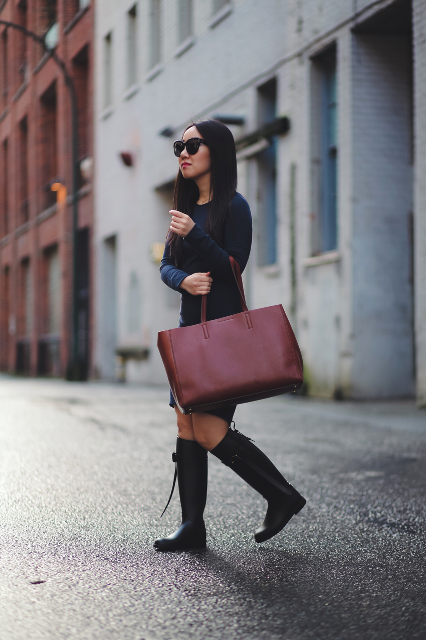 Lululemon &Go Everywhere Dress,Burberry 'Roscot' Waterproof Riding Boot,Banana Republic leather tote (Madewell Transport toteis similar),Celine Audrey Sunglasses,MAC lipstick in See Sheer