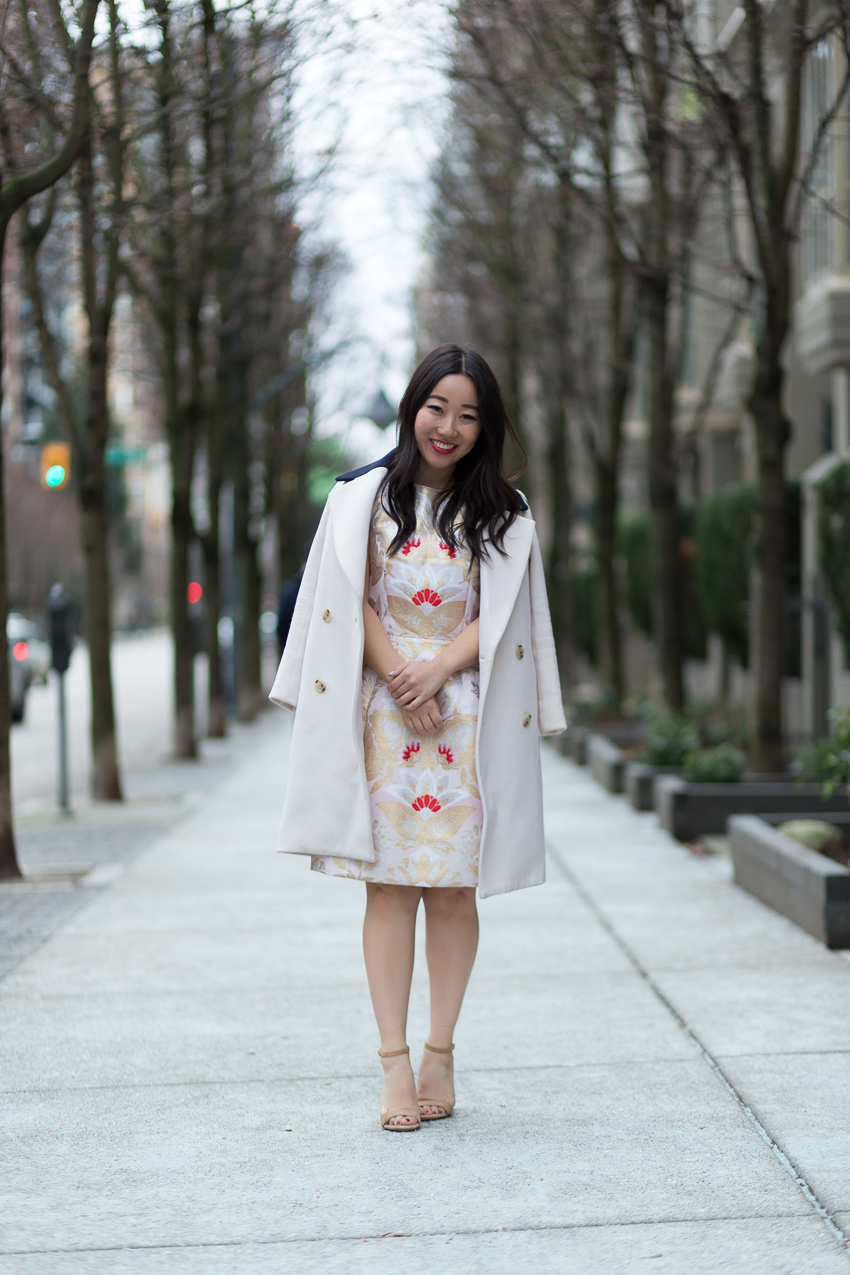 J.Crew topcoat Ted baker dress party outfit