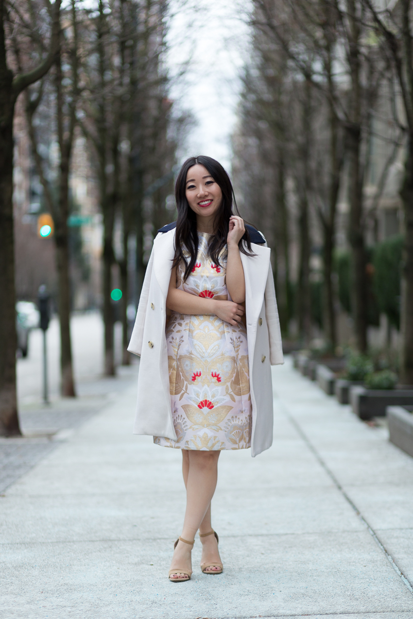ted baker dress with j.crew topcoat vancouver fashion blog