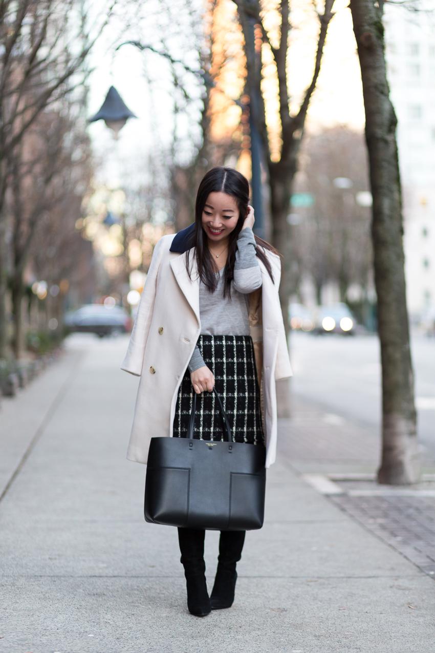 workwear style blogger Tory Burch tweed skirt
