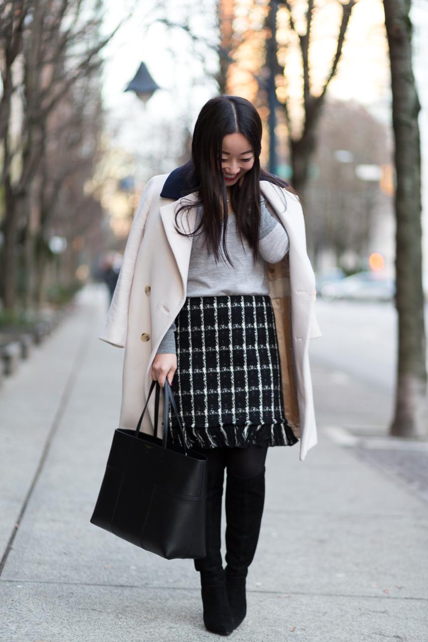 Tory Burch tweed skirt and Block T bag