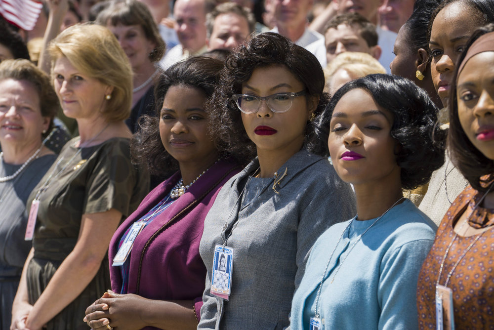 Dorothy (played by Octavia Spencer), Katherine (played by Taraji P. Henson) and Mary (played by Janelle Monáe) in Hidden Figures.