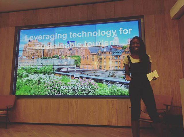 And we're on! Sayo Ayodele, Founder of Journeykind on 'Leveraging Tech for sustainable travel' #ggm17 #travel #sustainability #womenintech