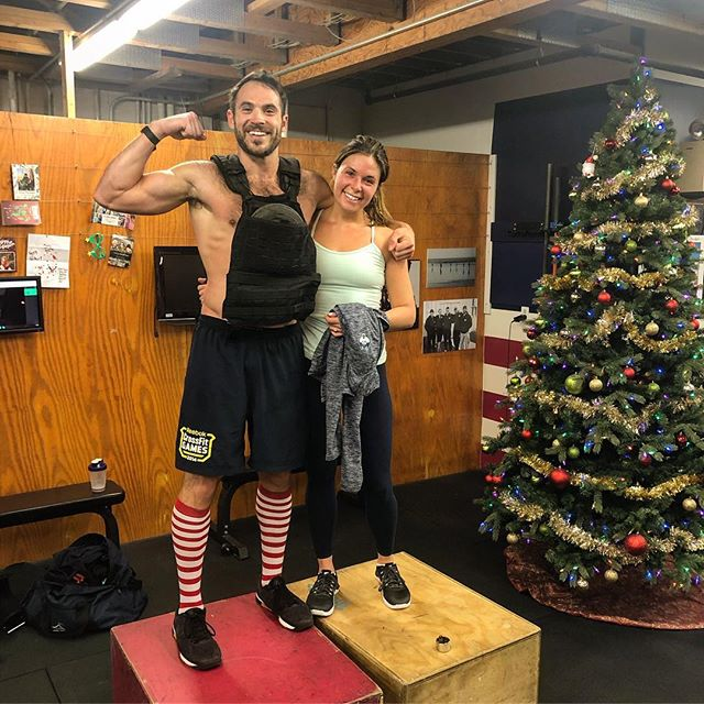 """After eating/drinking with our families over the last 10 days, @kelsey.rath and I capped off a truly wonderful Christmas season with """"Chad"""" (1k step ups with 40# vest). #Family #Christmas #Chad #HeroWOD #Fitness"""