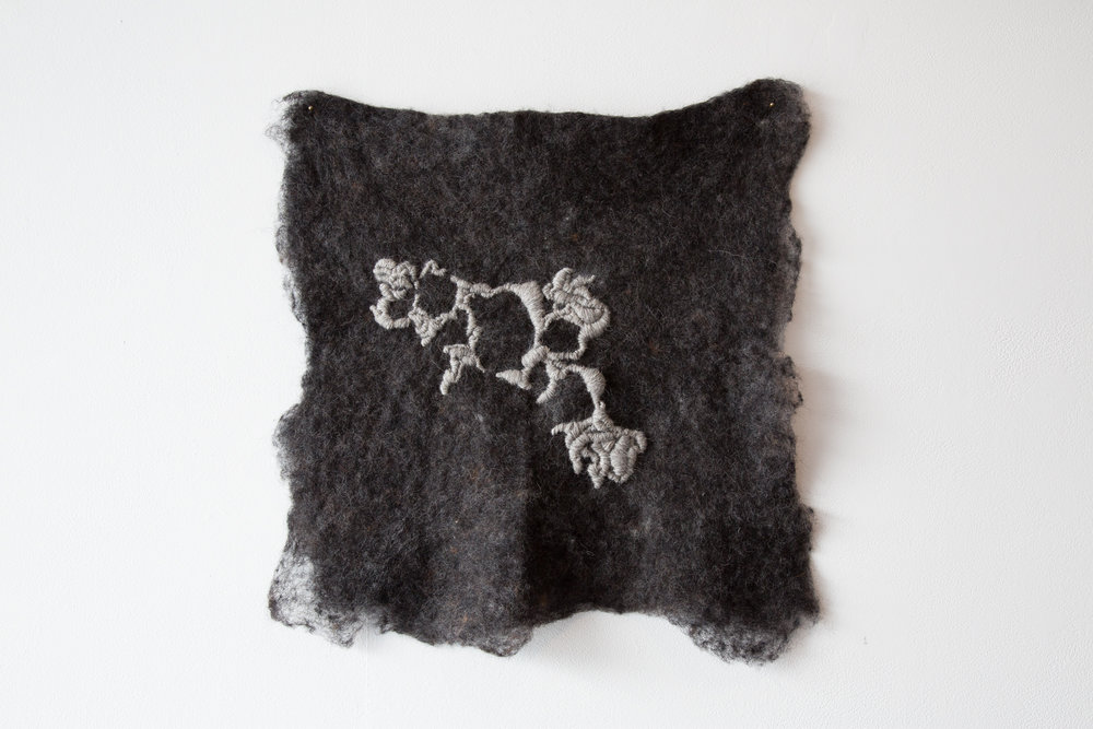 Grounding  2016, wet-felted and hand-stitched Icelandic wool.  Photograph by Yvonne Doherty at Cirrus Photography