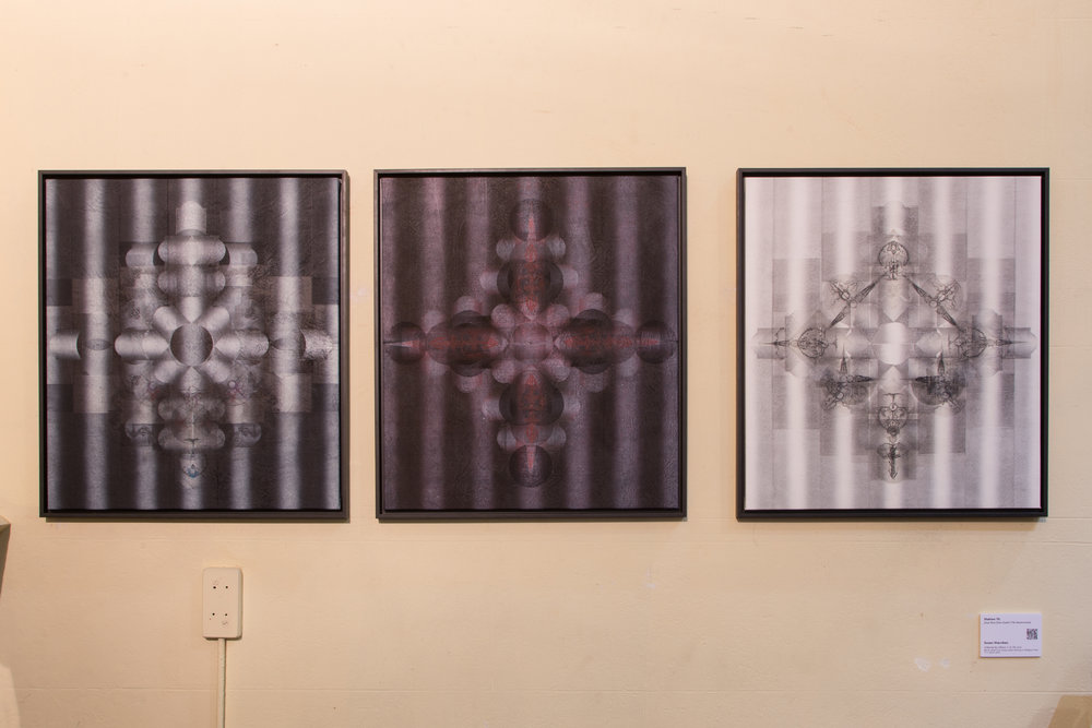 Station 15: Jesus Rises from Death (The Resurrection)  Susan Starcken  Ushered by Ghosts I, II, III  2016, Block relief and unique state etching on Belgian linen 77 x 68cm each