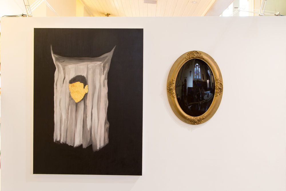 Station 6:Veronica Wipes Jesus' Face   Paul Uhlmann  Veronica's veil  2016,Oil on canvas and oval black mirror 122 x 91cm and 60 x 40cm