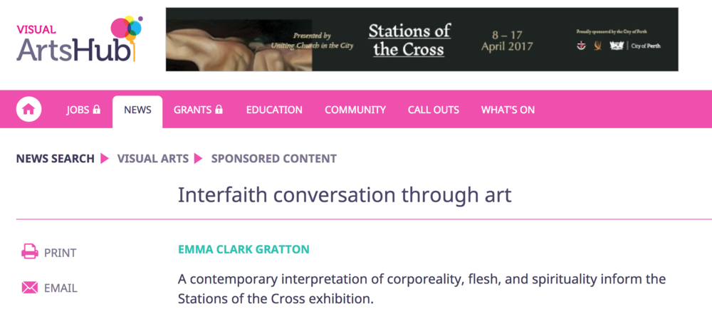 Interfaith conversation through art, article by Emma Clark Gratton, ArtsHub article published 22 March 2017 .