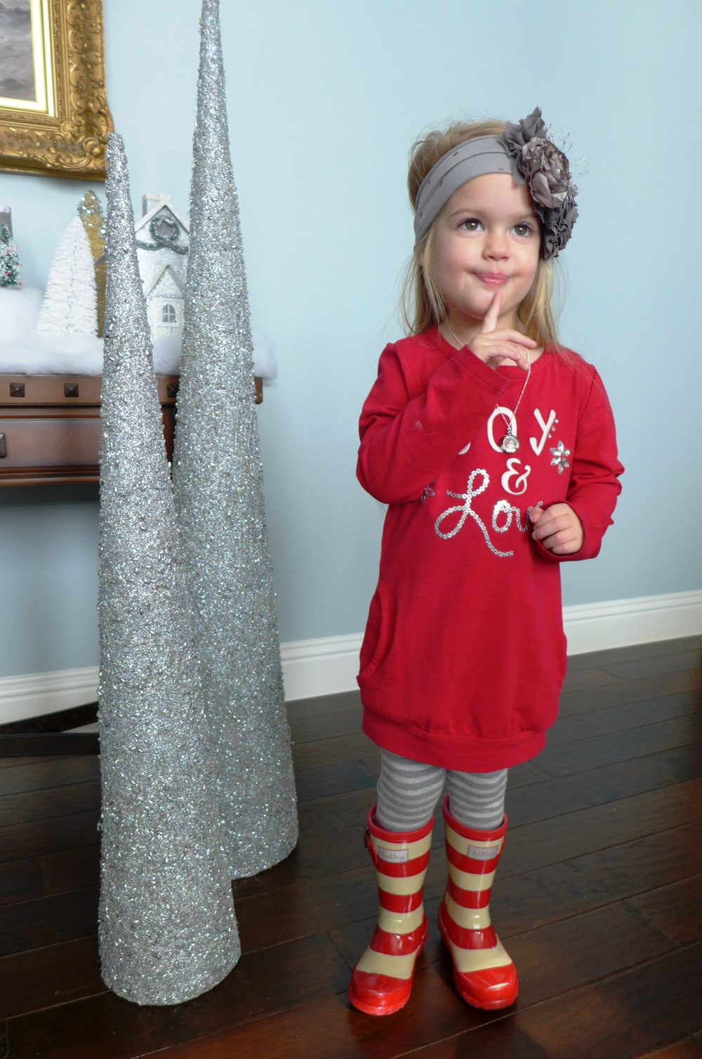 Gymboree Sweatshirt from Joyful Holiday   Gymboree Reindeer Fair Isle Tights  Hatley Red Stripe Rain Boots  Headband: Persnickety Zaya Grey Dot (Fall 12)  Necklace:  Origami Owl Mini Living Locket