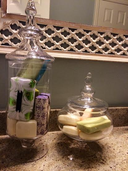 Beautiful bar soaps purchased at Marshall's (and other discount stores) are beautiful decor in the guest bathroom