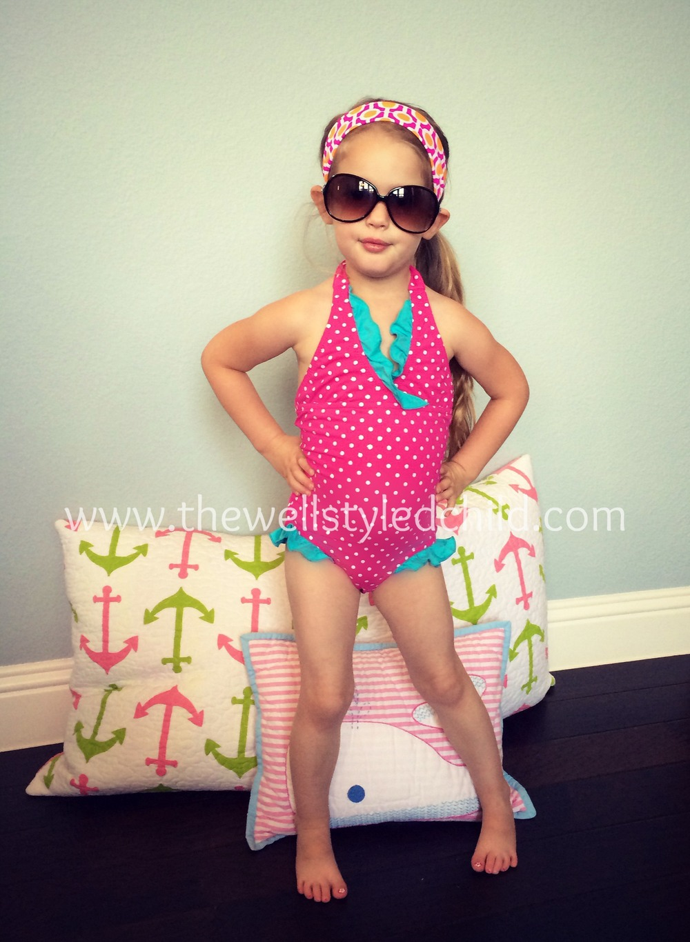 Garnet Hill Kids Ruffle Trimmed Halter One Piece  Garnet Hill Kids Swim Headband  Sunglasses:  Island in the SUn