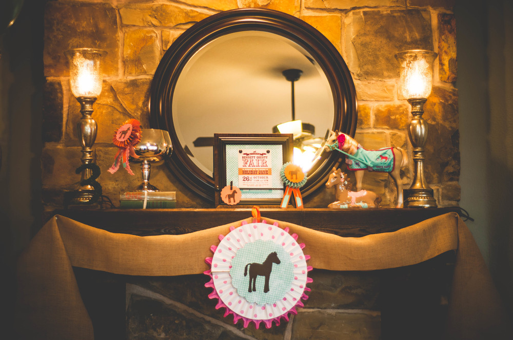 County Fair Party- I used my daughter's horsey piggy bank and other Horse toy (both from Target) and then incorporated decorative pieces I already had and then added some homemade party decor.