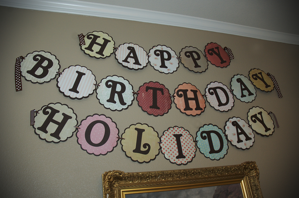 I make a birthday sign with the Cricut each year to match the party theme.  I intentionally tried to incorporate lots of colors into this one so I could use it again in the future.