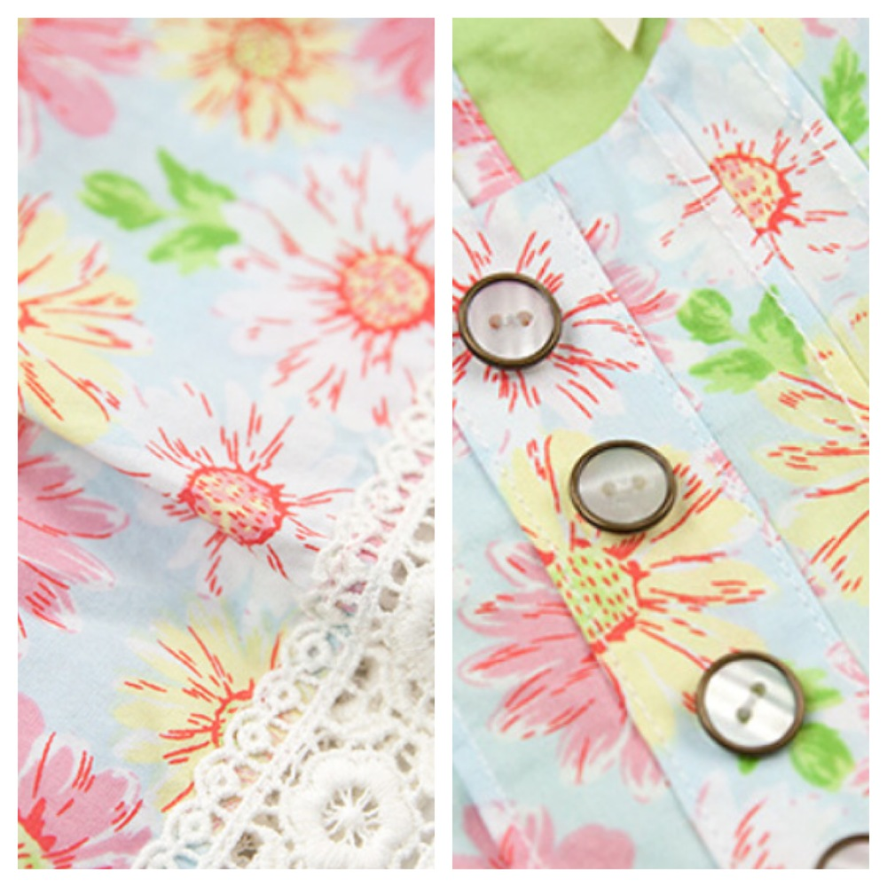 Closeup of the Daisy Charm fabric & details