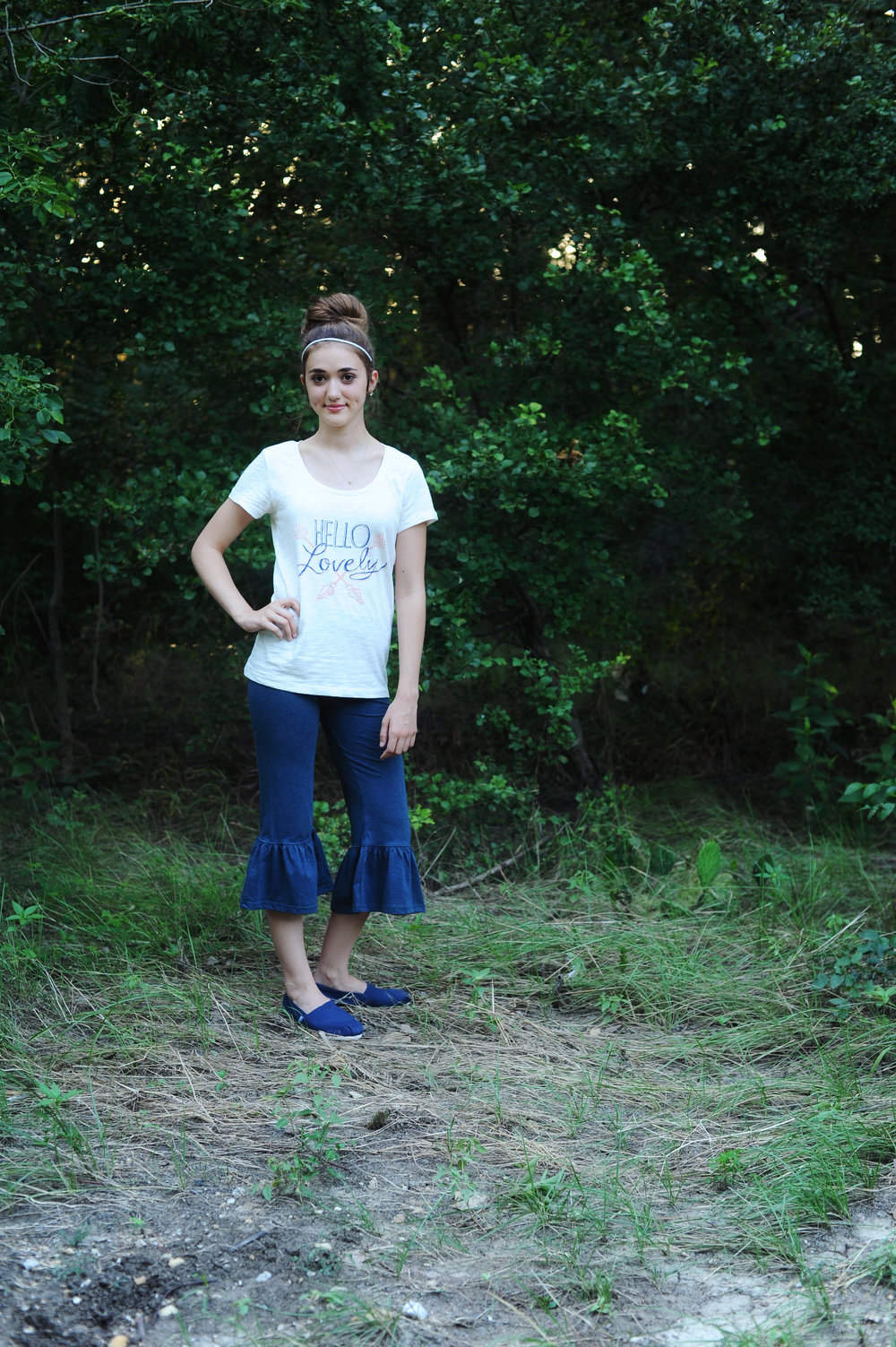 Hello Lovely Tee with the Nightime Sky Big Ruffles