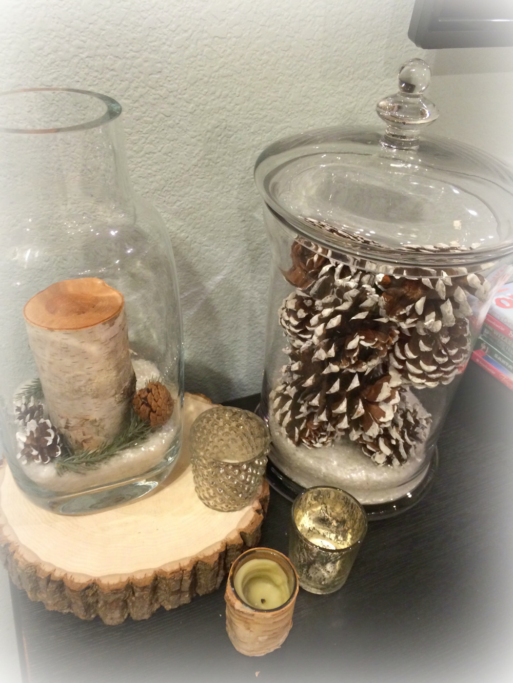This one is a bit of an inspiration pic fail with the candles not lit, but wanted to include it since I know pinecones are an easy and practical addition to your January Decor!