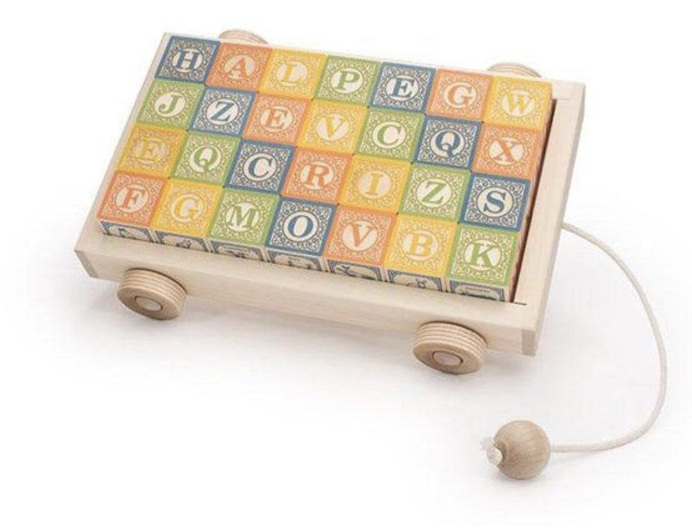 Uncle Goose Classic ABC Blocks in Pull Wagon