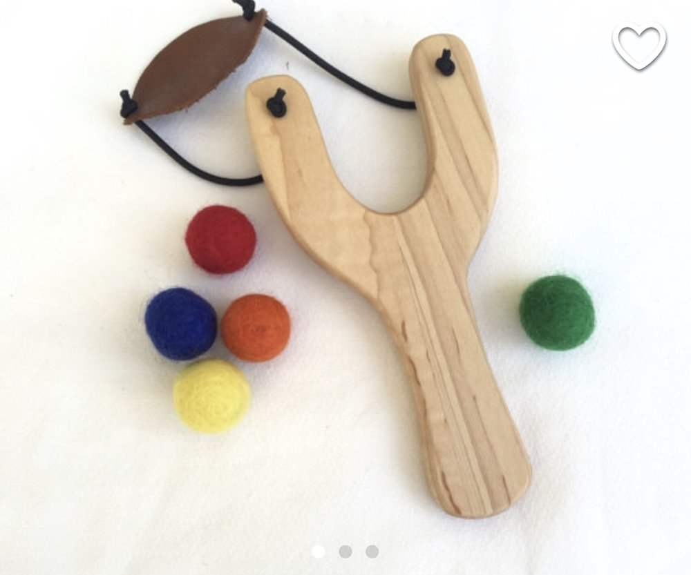 FromJennifer Wooden Slingshot and Felt Balls