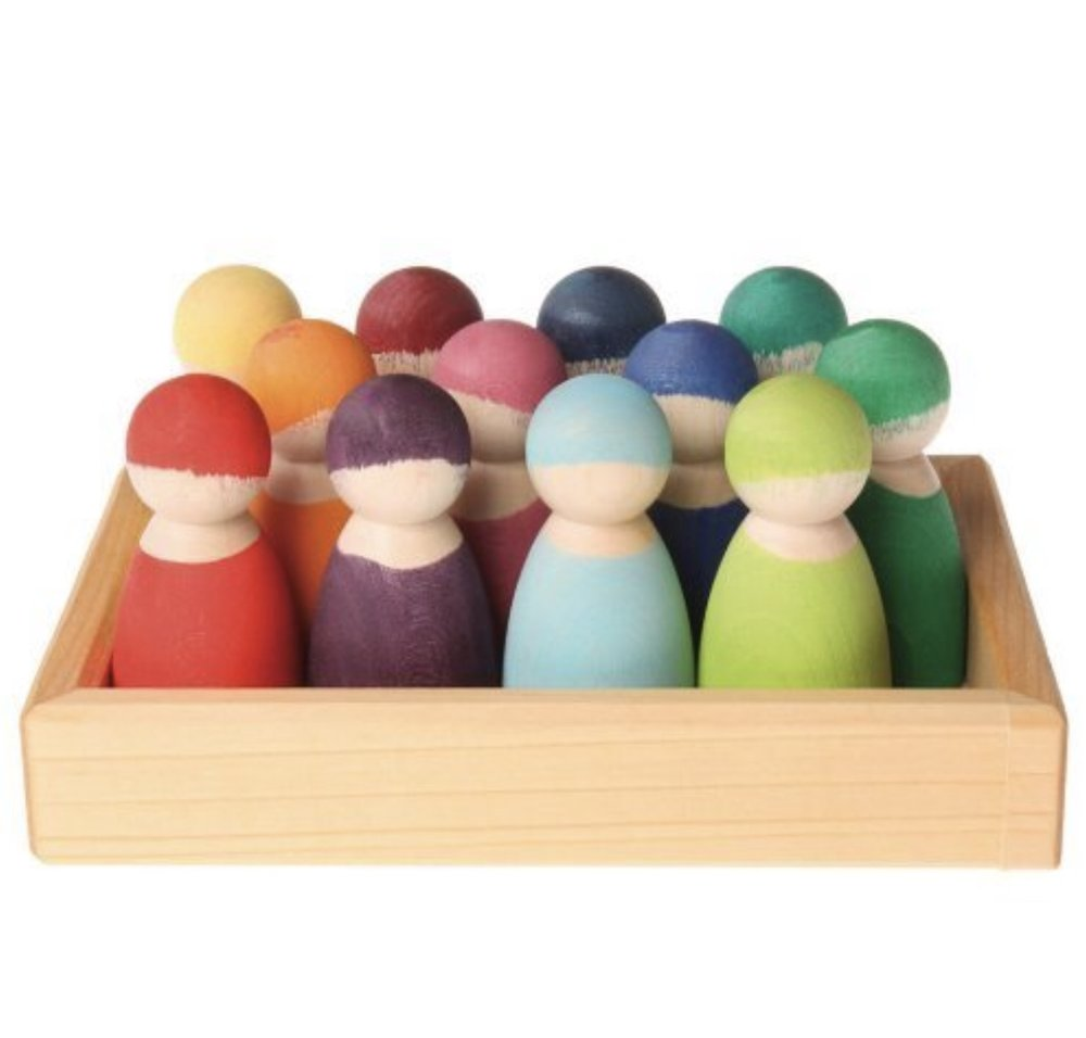 Grimm's Set of 12 Rainbow Friends Peg Dolls