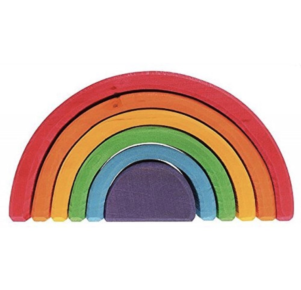 Grimm's Six Piece Rainbow Stacker- Nesting Wooden Waldorf Blocks