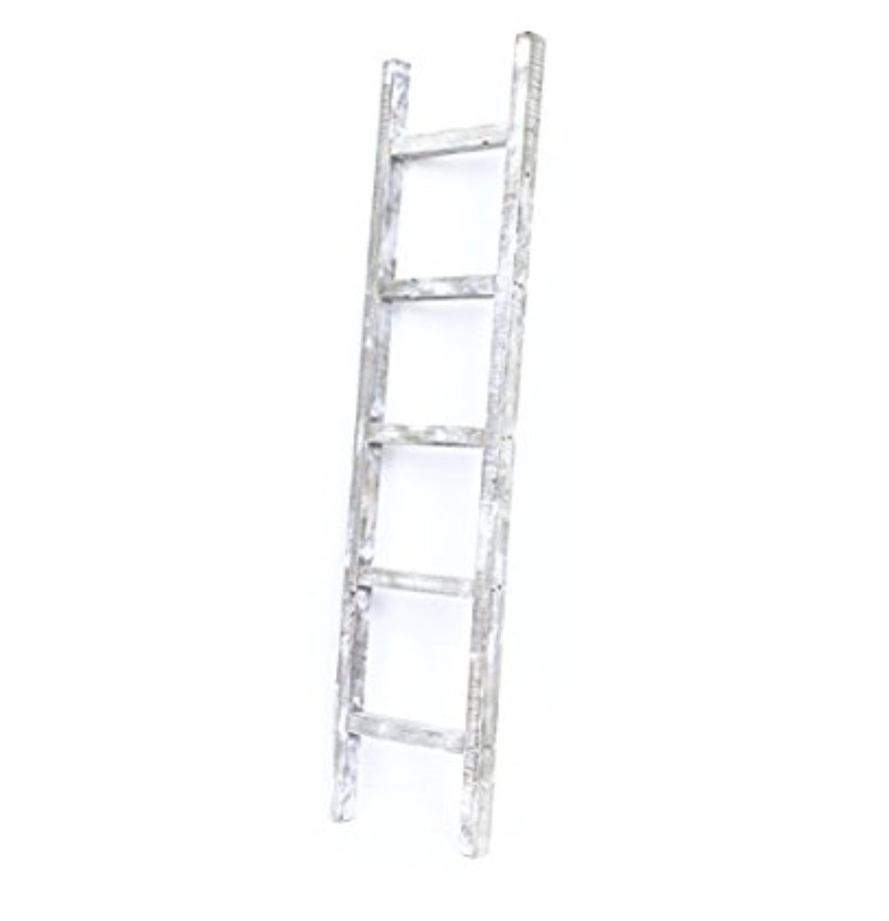 BarnwoodUSA Rustic Decorative Ladder, White Wash, 72inch