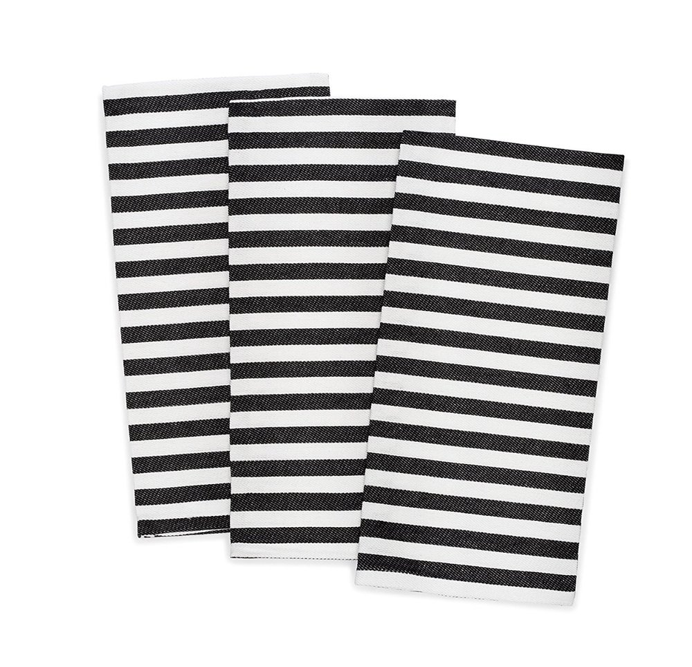 Pacific Home Striped Dish Towel, Black and White, 3 Pack