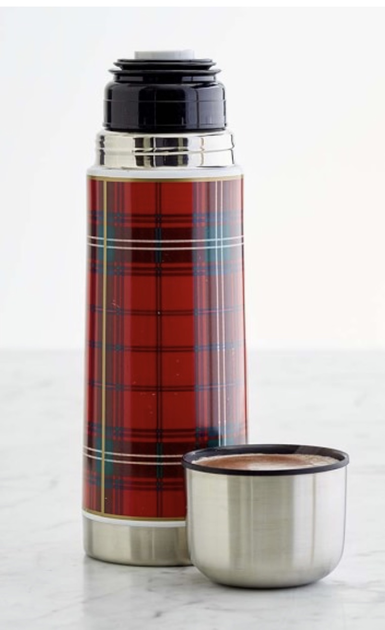 Williams Sonoma Plaid Insulated Beverage Container
