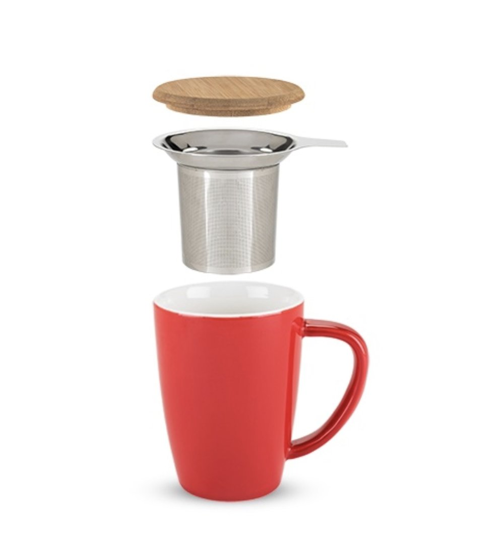 Bailey Ceramic Tea Mug & Infuser in Red by Pinky Up