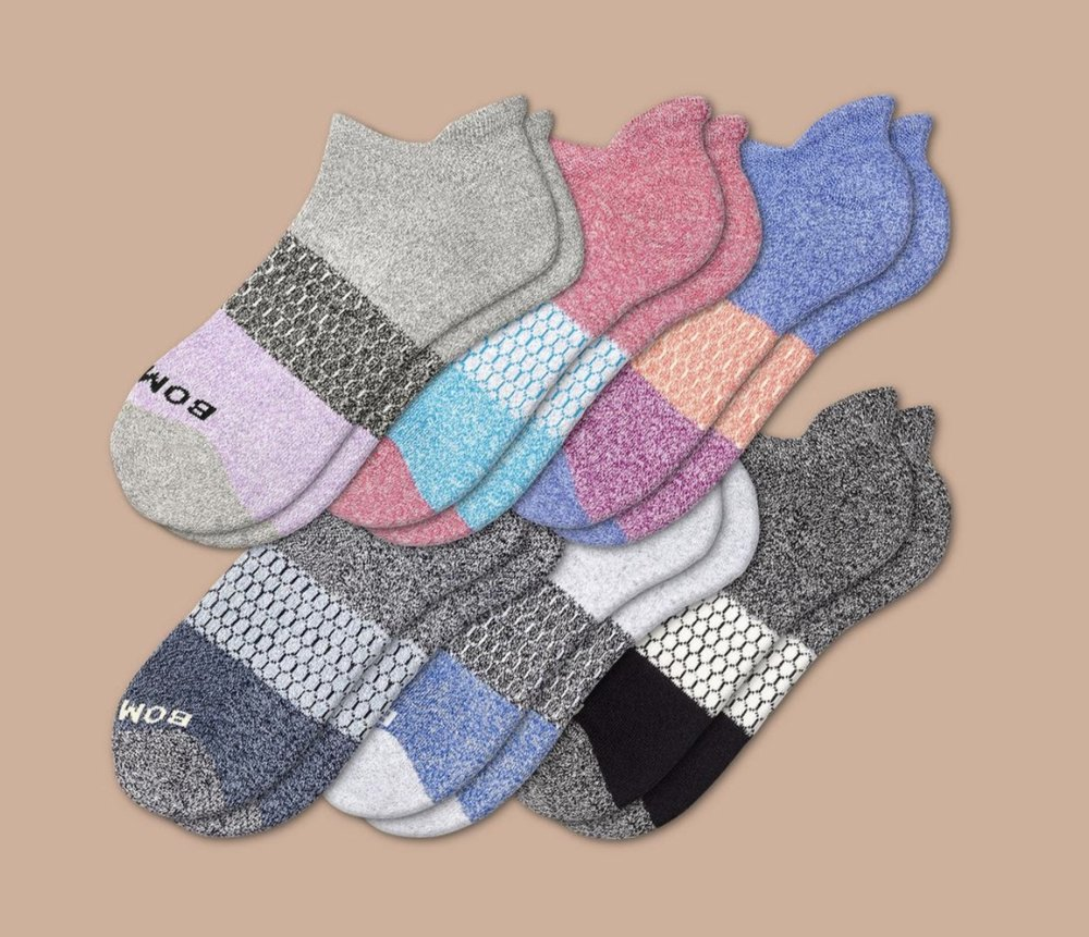 Bombas Women's Tri-Block Marl Ankle Socks- 6 Pack