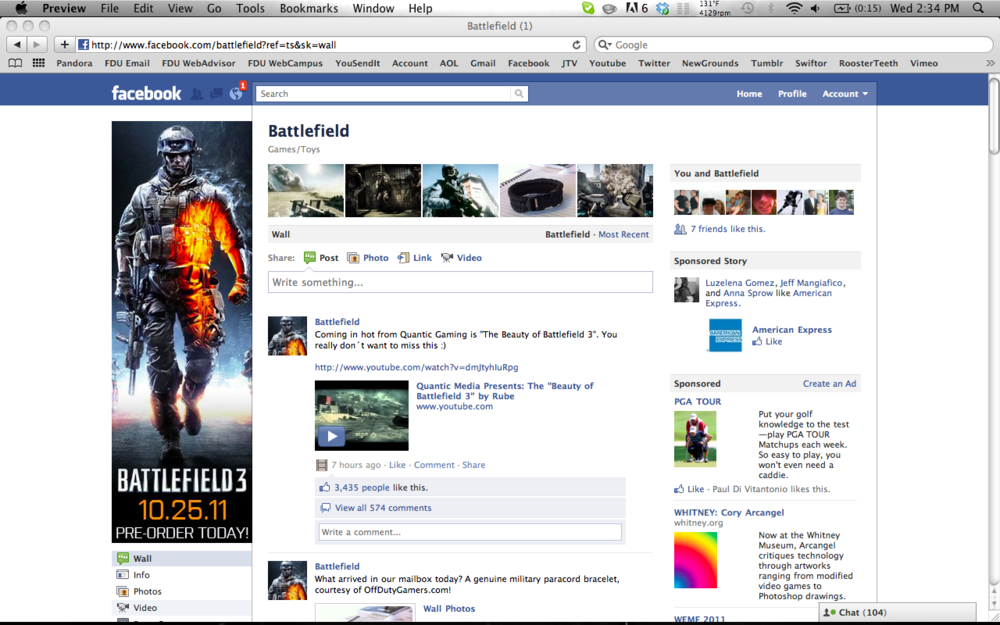 Featured on Battlefield's main Facebook fan page (6.8M)