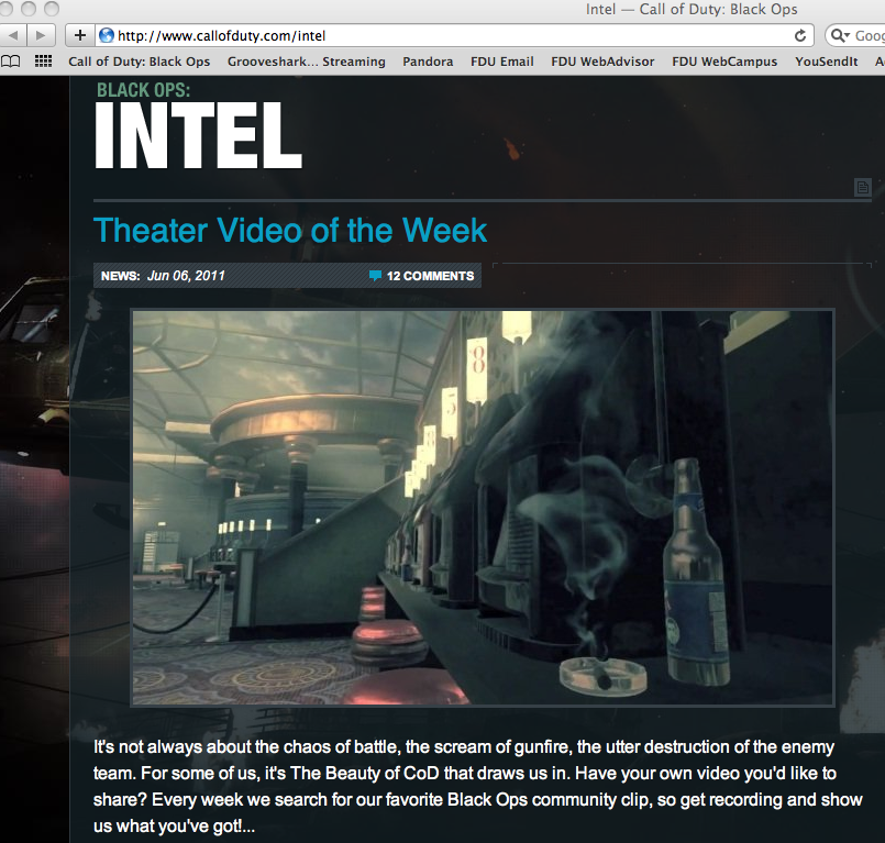 Featured on Call of Duty's Homepage