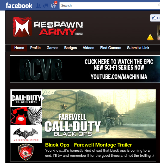 Featured on Machinima's Respawn Army Homepage