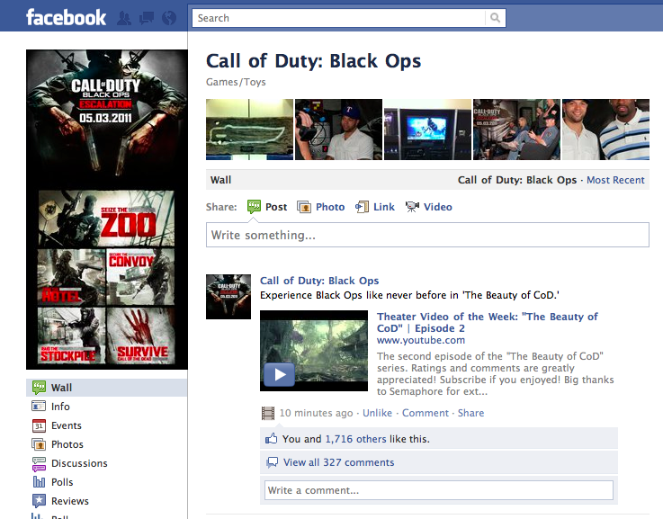 Featured on Call of Duty's Facebook Fan Page (20.8M)