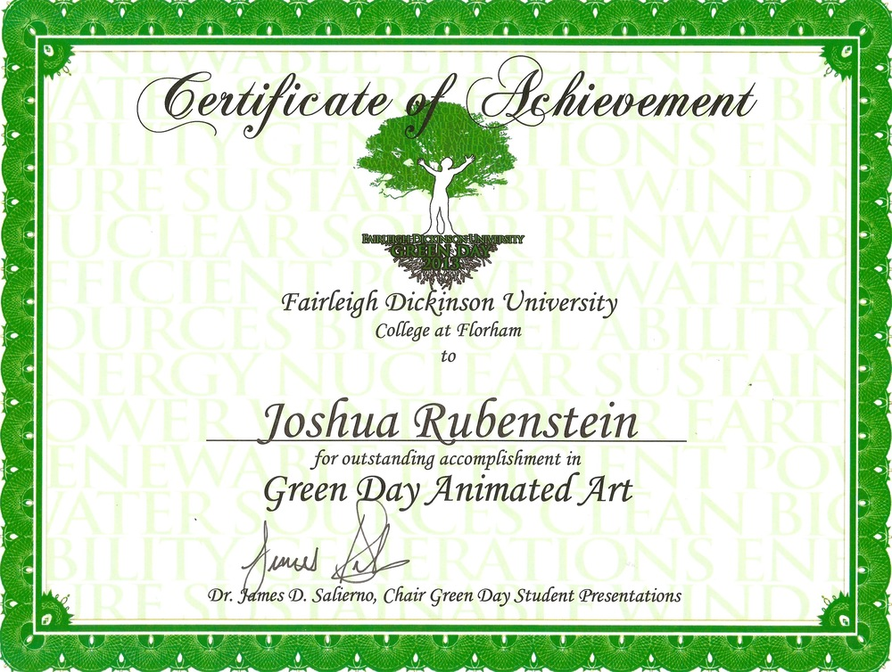 1st place - Fairleigh Dickinson Universities Green Day Animation Art Contest