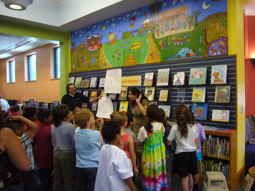 And here's the mural in the library, during the unveiling ceremony.