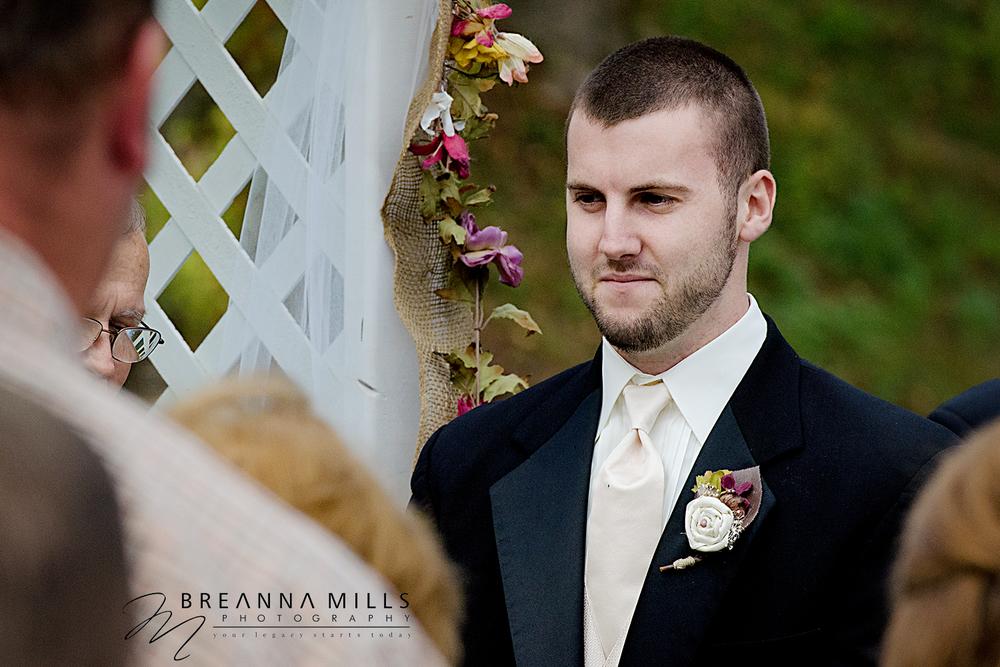 Johnson City wedding photographer, Breanna Mills Photography captures groom during wedding ceremony.