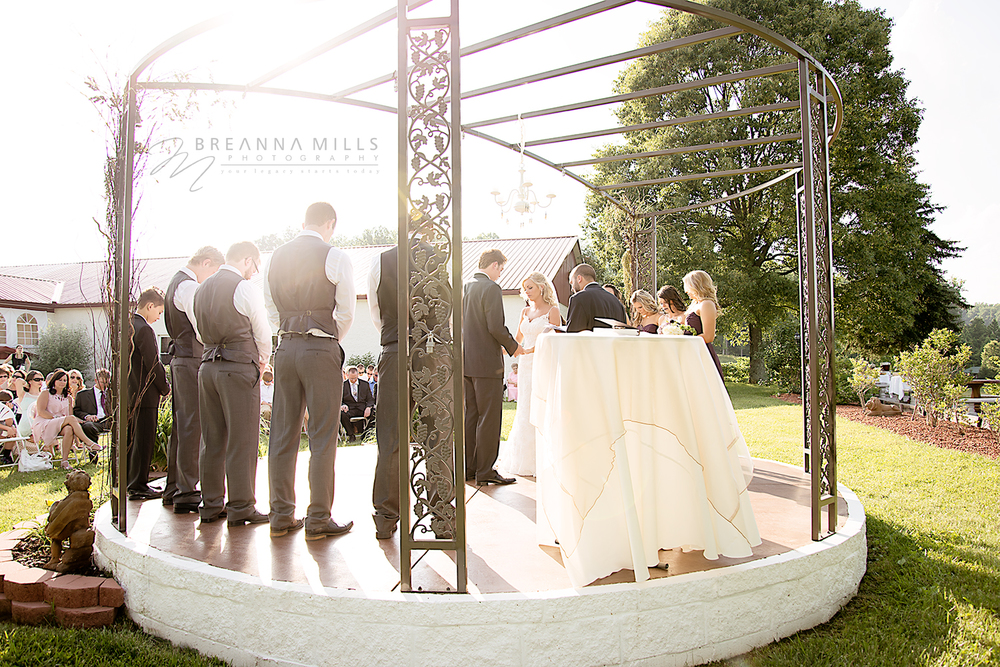 Johnson City Wedding Photographer Breanna Mills Photography captures wedding ceremony with bride, groom, bridesmaids and groomsmen at a beautiful outdoor wedding at Corey Ippolito Winery wedding venue.