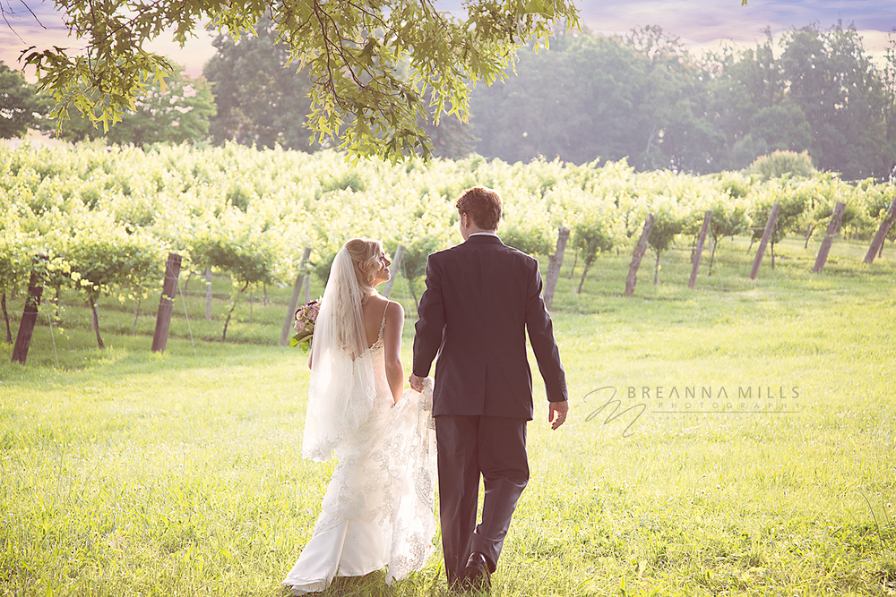 Johnson City wedding photographer Breanna Mills Photography captures creative portraits of bride and groom on their wedding day at the Corey Ippolito Winery and wedding venue.